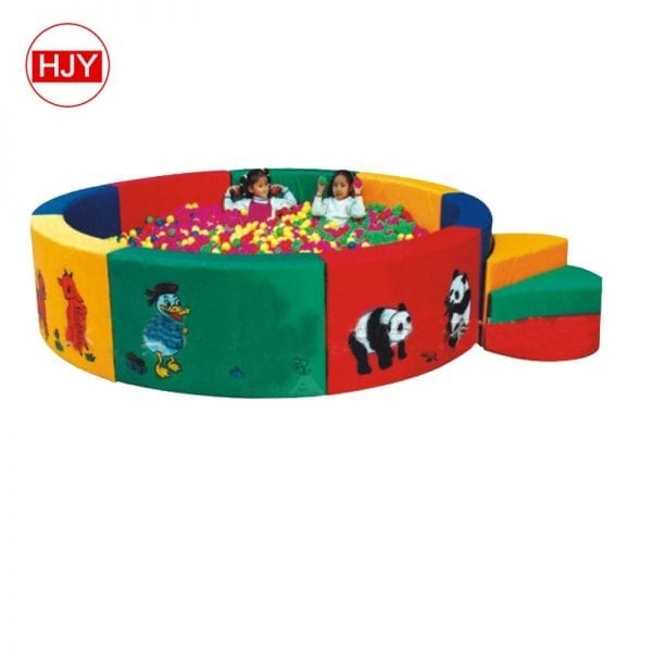 Quick Details Place of Origin: China Model Number: HJY-ST1 Material: Inflatable Playground Product name: Soft indoor toys Size: Customized Size Capacity: 1 Child/ 2M2 Function: Stimulated Children's Curiosity Brand Name: OEM Type: Indoor Playground Certificate: SGS,CE etc Color: Colorful Warranty: 1 Year Packing: OEM OR STANDARD Supply Ability Supply Ability 1000000 Set/Sets per Day Packaging & Delivery Packaging Details standard export package Port Huangpu,Ningbo Lead Time Quantity(Sets) 1 - 1 >1 Est. Time(days) 3 To be negotiated Details of our Outdoor or indoor used children playground equipment: 1. Eco- friendly products, keep children safe playing. 2. Competitive price, more children can enjoy it. 3. Security- oriented, miss the requirement of EN1176 certification. Pass GS certificate. 4. Fashion and warm design, make kids much more fun and will play again and again. 5. Creative kinds of amusement equipment, many different designs 6. High quality material, New Plastic LLDPE(= Linear low density polyethylene),Galvanized steel pipes with powder coated both inside and outside. Stainless screws, steel decks with PVC coated or powder coated. 7. Designed requirement, accordi ng to the age, budget, location etc. 8. Free design. 9. UV-resistant,high-strength,durable for outdoor usage. Our product details Name Popular PVC daycare indoor kids soft play equipment with factory price Material PVC and sponge Color As to your request. Function Protect children safety when they playing indoor and make them enjoy playing freely, suitable for improving children's energy and imagination ,help them grow up happily, cleverly and healthily etc. Usage scope kindergarten,residential park ,school,amusement park,supermarket,children's hall Certificate TUV,CE,EN1176,ISO Packing Export standard packing Carton FAQ Q: Can you make the design for the outdoor playground equipment? A: Yes. We have the design departm ent. If you can provide us the size of your area, our designer could make the 