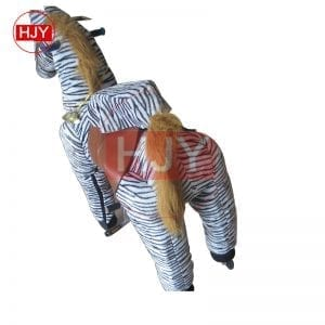 children play funny brown horse walking mechanical 1