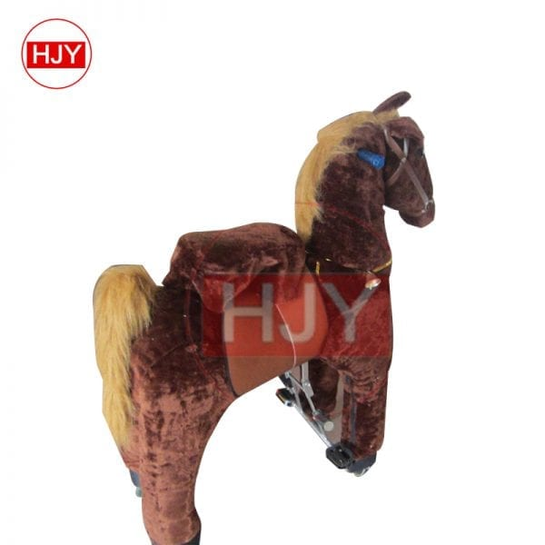 children play funny brown horse walking mechanical 2