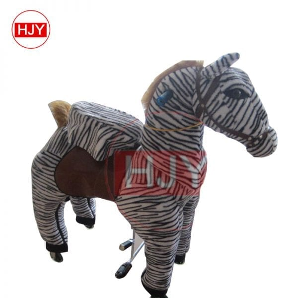 children play funny brown horse walking mechanical 3