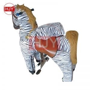 children play funny brown horse walking mechanical